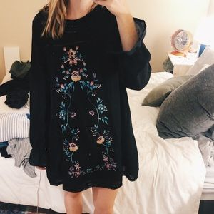 Black Dress with Flower Embroidery